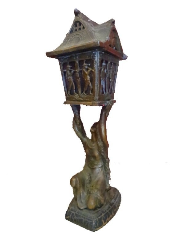 3 PC CIRCA 1927 METAL PEDESTAL BOWL AND 2 LAMPS, - 4