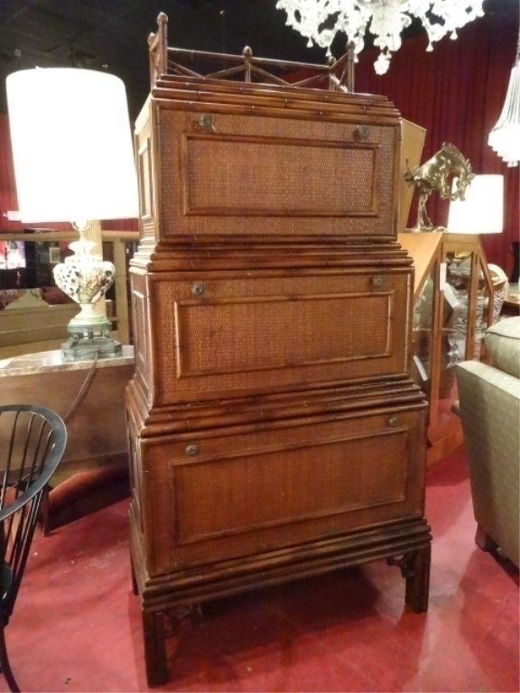 ASIAN INSPIRED STACKED CHEST, DROPFRONT DESK AND 2 - 4