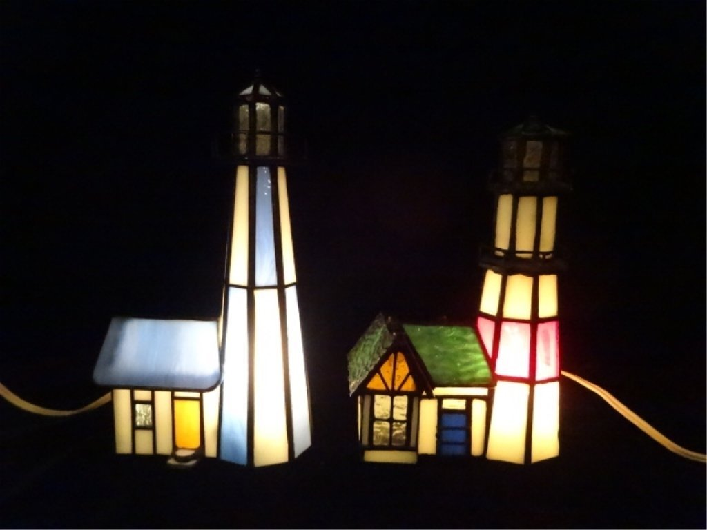 """2 PC STAINED GLASS LIGHTHOUSE LAMPS, APPROX 8.25"""" &"""