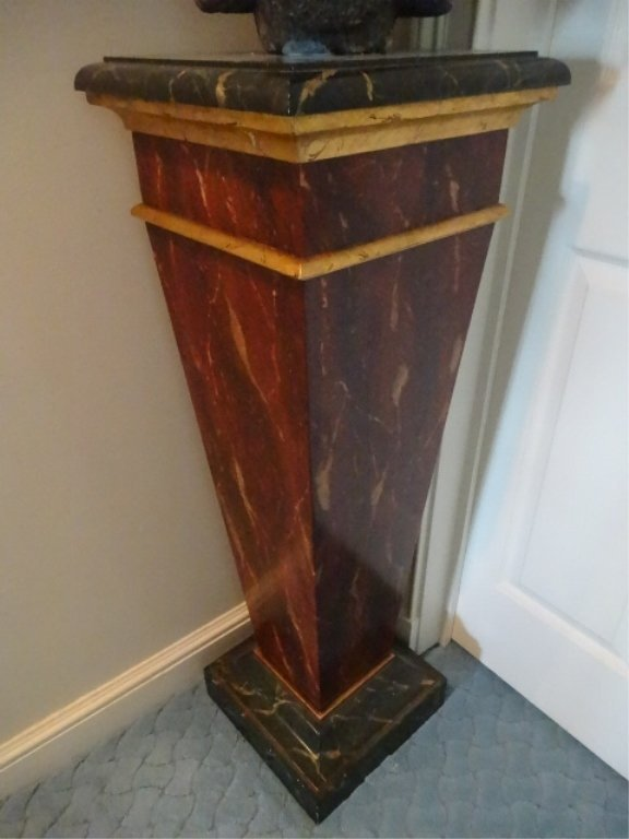 NEOCLASSICAL WOOD PEDESTAL, #1 OF TWO AVAILABLE, FAUX