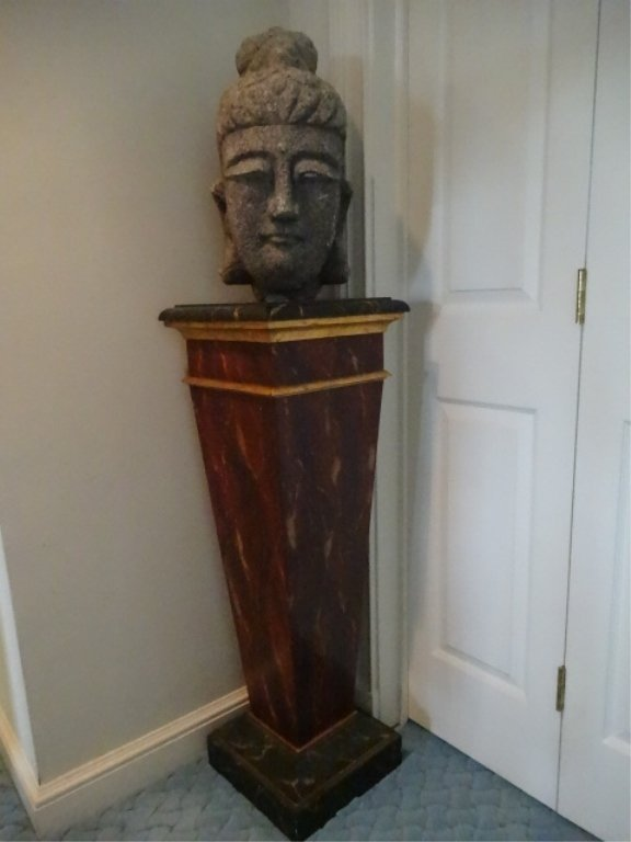 NEOCLASSICAL WOOD PEDESTAL, #1 OF TWO AVAILABLE, FAUX - 2