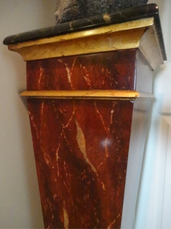 NEOCLASSICAL WOOD PEDESTAL, #1 OF TWO AVAILABLE, FAUX - 3