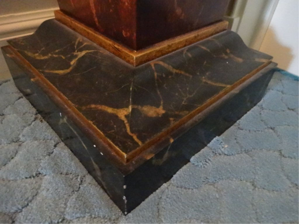 NEOCLASSICAL WOOD PEDESTAL, #1 OF TWO AVAILABLE, FAUX - 4