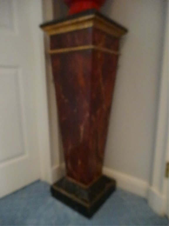 NEOCLASSICAL WOOD PEDESTAL, #2 OF TWO AVAILABLE, FAUX