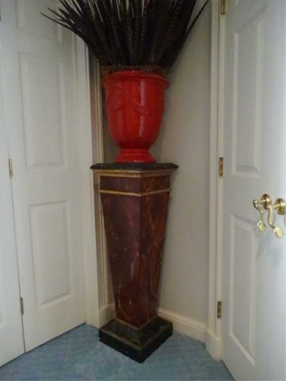 NEOCLASSICAL WOOD PEDESTAL, #2 OF TWO AVAILABLE, FAUX - 2
