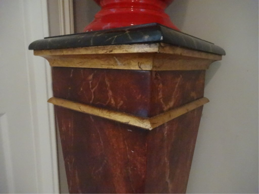 NEOCLASSICAL WOOD PEDESTAL, #2 OF TWO AVAILABLE, FAUX - 3