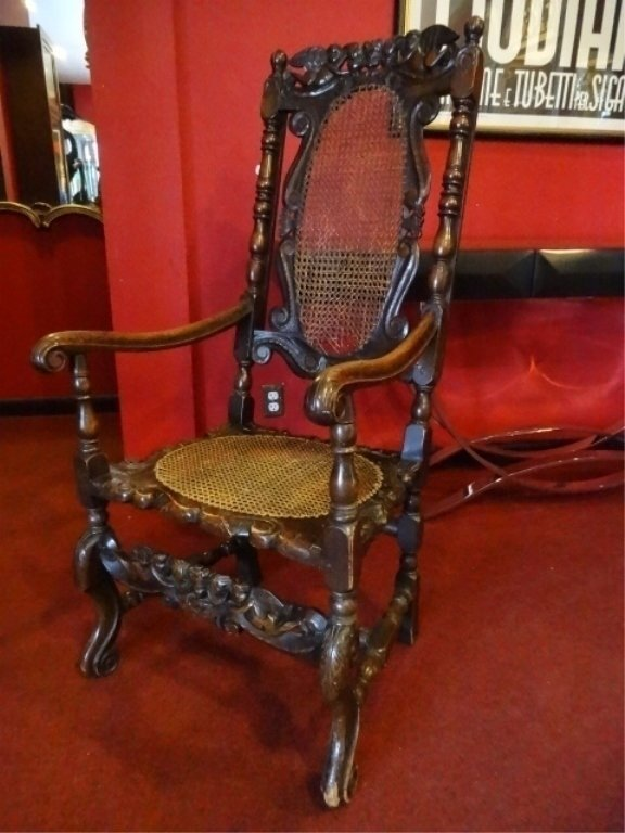 19th C. CARVED WOOD ARMCHAIR, CANE BACK AND SEAT, VERY
