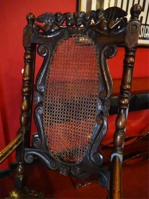 19th C. CARVED WOOD ARMCHAIR, CANE BACK AND SEAT, VERY - 2