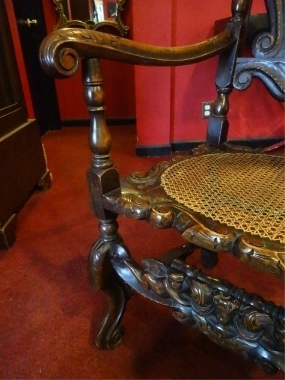19th C. CARVED WOOD ARMCHAIR, CANE BACK AND SEAT, VERY - 9
