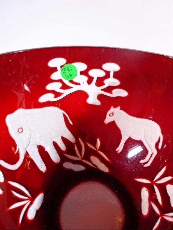 LARGE RUBY CUT TO CLEAR CRYSTAL BOWL, SAFARI ANIMAL - 4
