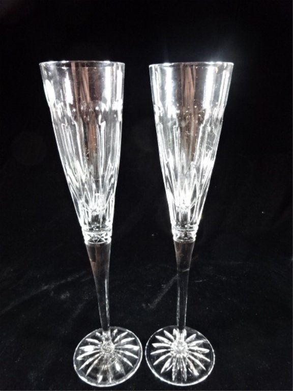 """PAIR CUT CRYSTAL CHAMPAGNE TOASTING FLUTES, 11"""" X 3""""."""