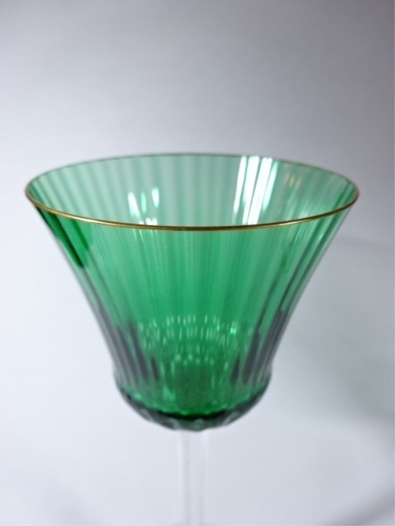 "PAIR EMERALD AND CLEAR CRYSTAL WINE GLASSES, 8.5"" X 3"", - 3"