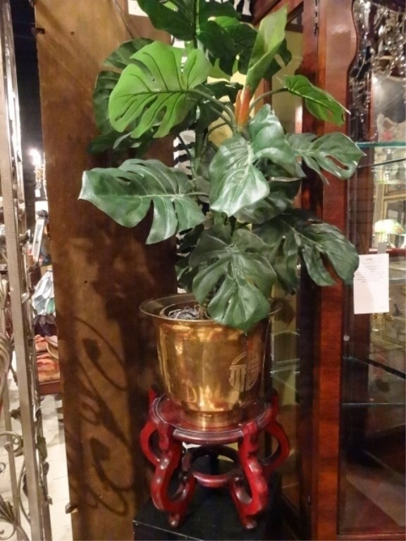 BRASS PLANTER ON WOOD STAND, CHINESE STYLE, WITH FAUX