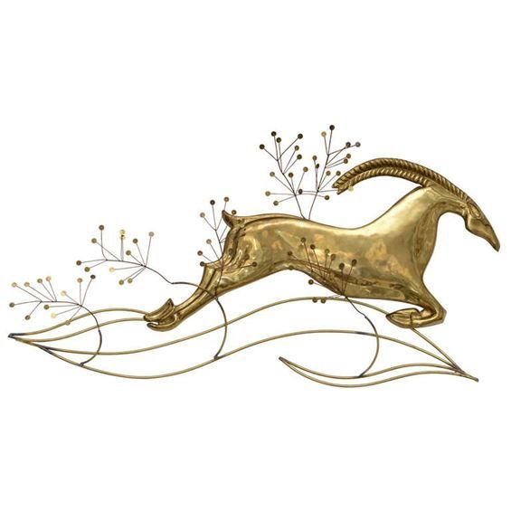 LARGE CURTIS JERE SIGNED BRASS GAZELLE WALL SCULPTURE,