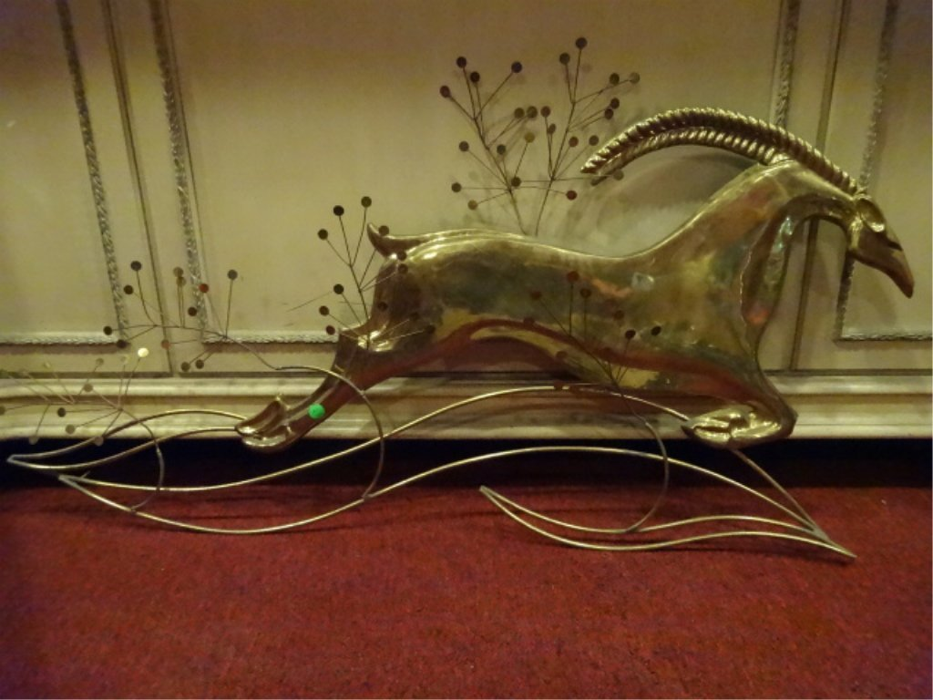 LARGE CURTIS JERE SIGNED BRASS GAZELLE WALL SCULPTURE, - 2