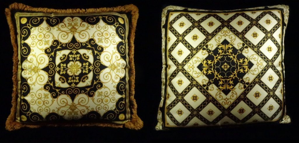 2 GIANNI VERSACE SILK PILLOWS, ONE WITH GOLD FRINGE,