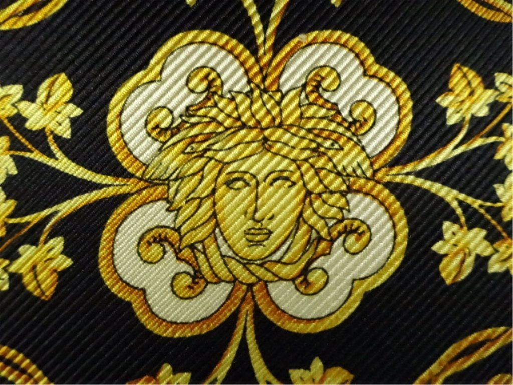 2 GIANNI VERSACE SILK PILLOWS, ONE WITH GOLD FRINGE, - 4
