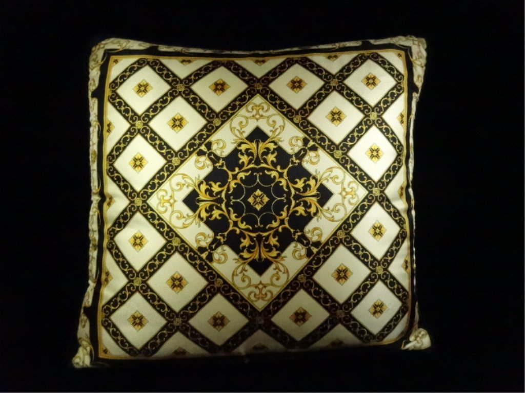 2 GIANNI VERSACE SILK PILLOWS, ONE WITH GOLD FRINGE, - 6
