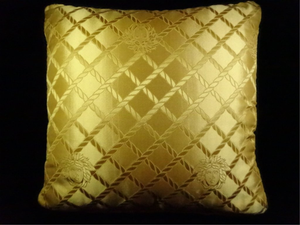 2 GIANNI VERSACE SILK PILLOWS, ONE WITH GOLD FRINGE, - 9