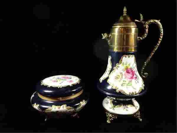HANDPAINTED LIMOGES EWER & ROUND BOX WITH LID, EWER
