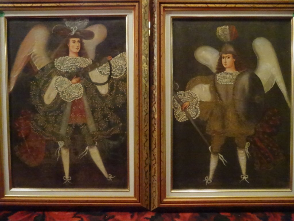 2 PAINTINGS ON CANVAS, MALE ANGELS, RENAISSANCE STYLE,