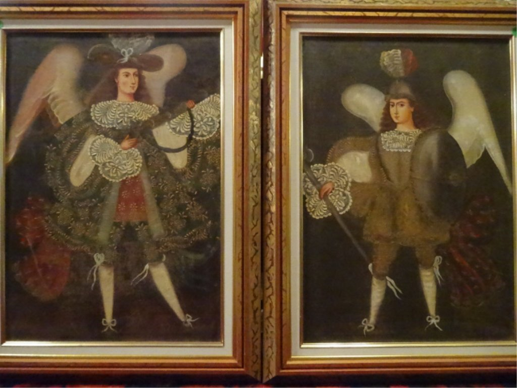 2 PAINTINGS ON CANVAS, MALE ANGELS, RENAISSANCE STYLE, - 2