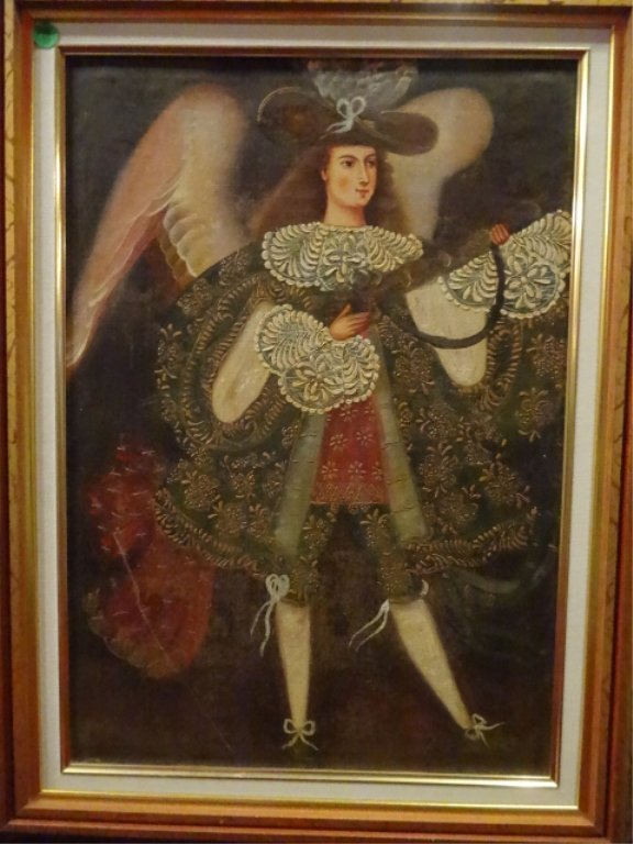 2 PAINTINGS ON CANVAS, MALE ANGELS, RENAISSANCE STYLE, - 4