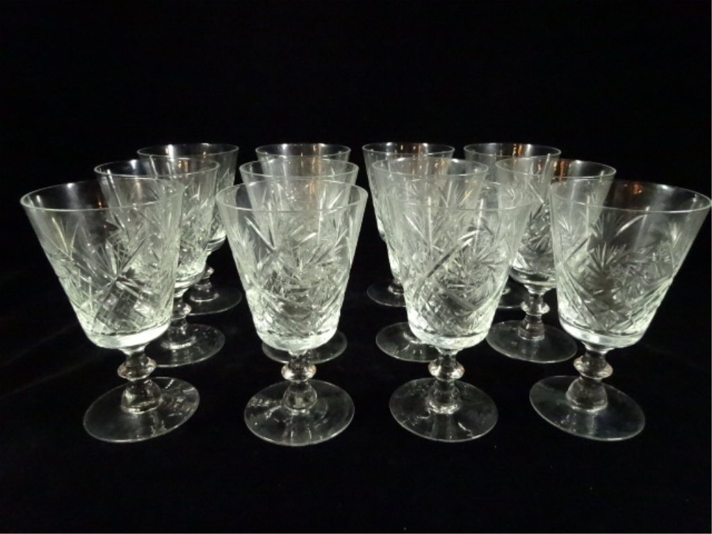 """12 VINTAGE CRYSTAL ETCHED WINE GLASSES, APPROX 6.25""""H"""
