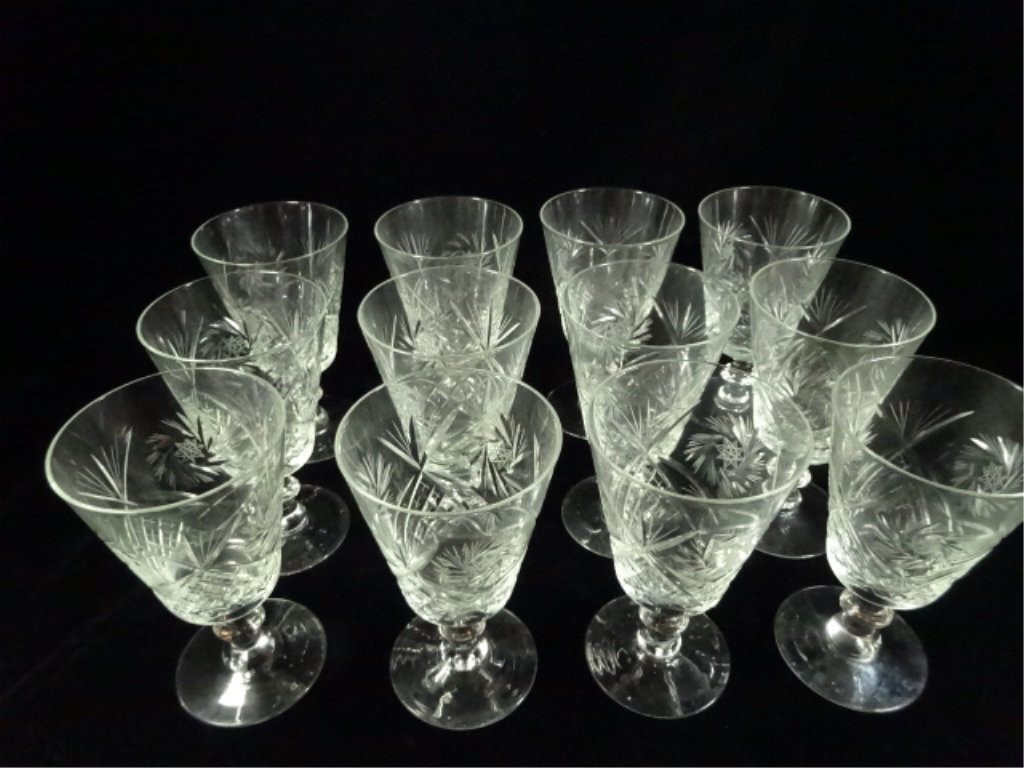 """12 VINTAGE CRYSTAL ETCHED WINE GLASSES, APPROX 6.25""""H - 2"""