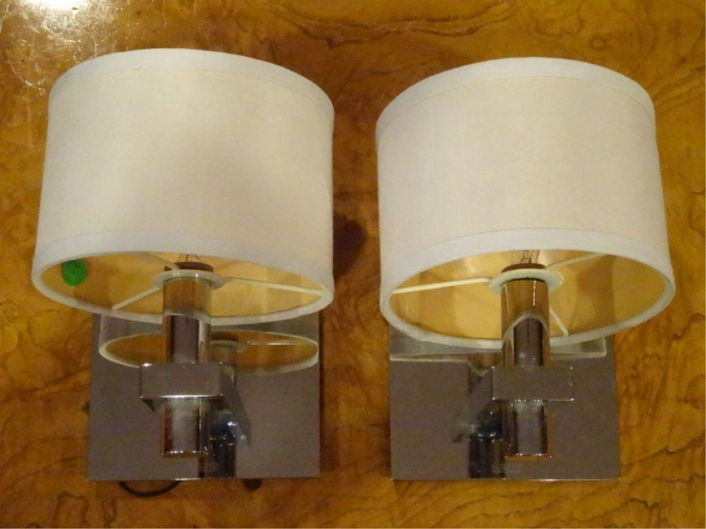 PAIR MOTIV ELECTRIC CHROME WALL SCONCES, MODERN DESIGN,