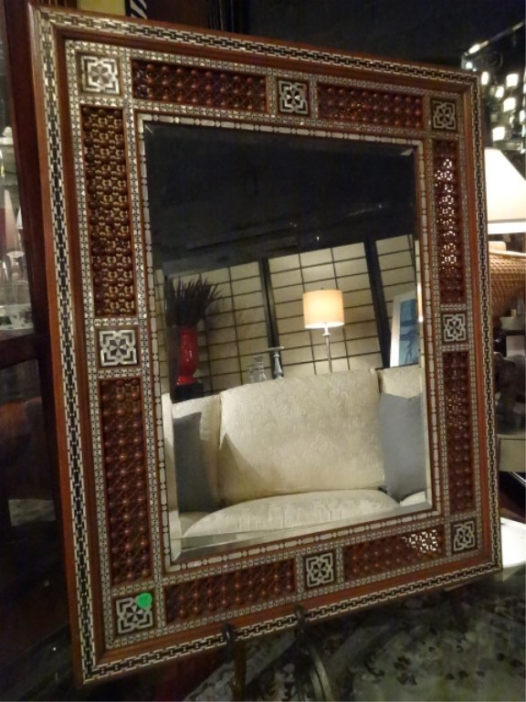MOROCCAN MIRROR, CARVED WOOD, MOTHER OF PEARL INLAY,