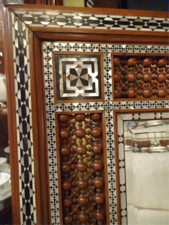 MOROCCAN MIRROR, CARVED WOOD, MOTHER OF PEARL INLAY, - 2