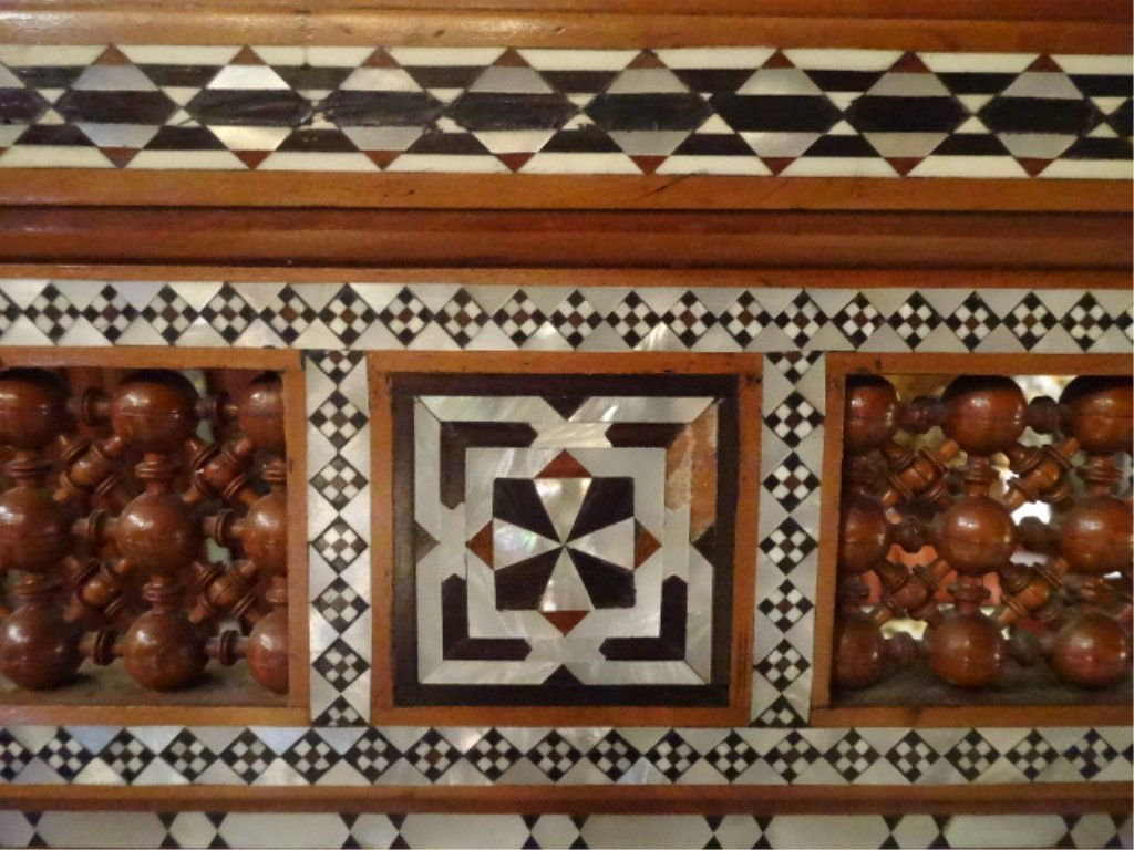 MOROCCAN MIRROR, CARVED WOOD, MOTHER OF PEARL INLAY, - 3
