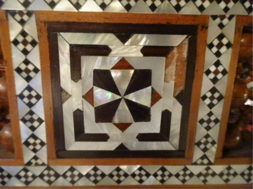 MOROCCAN MIRROR, CARVED WOOD, MOTHER OF PEARL INLAY, - 5
