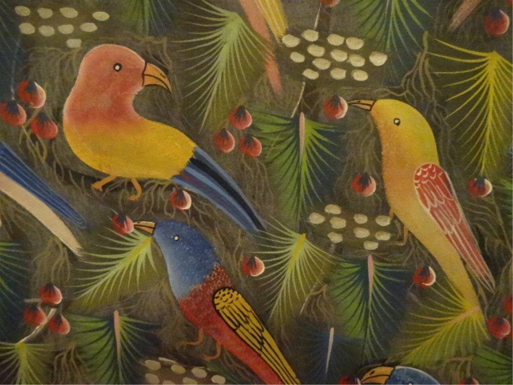 JEAN CLAUDE LOUISSAINT PAINTING ON BOARD, TROPICAL - 5