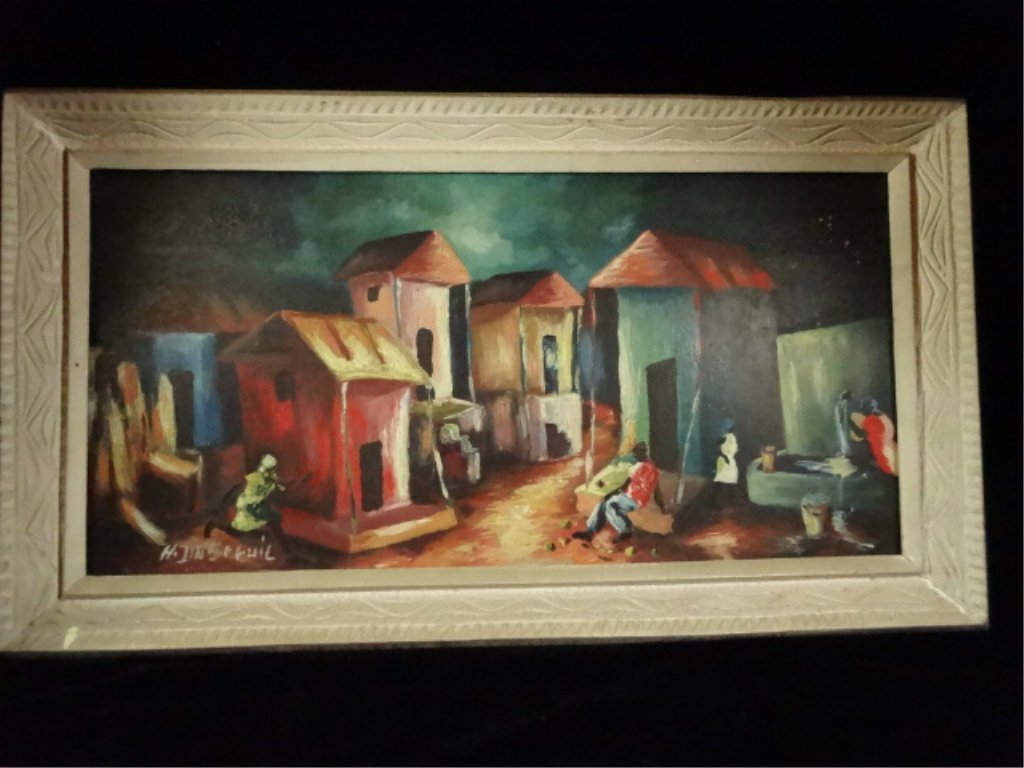 HAITIAN OIL ON BOARD PAINTING, VILLAGE SCENE, SIGNED