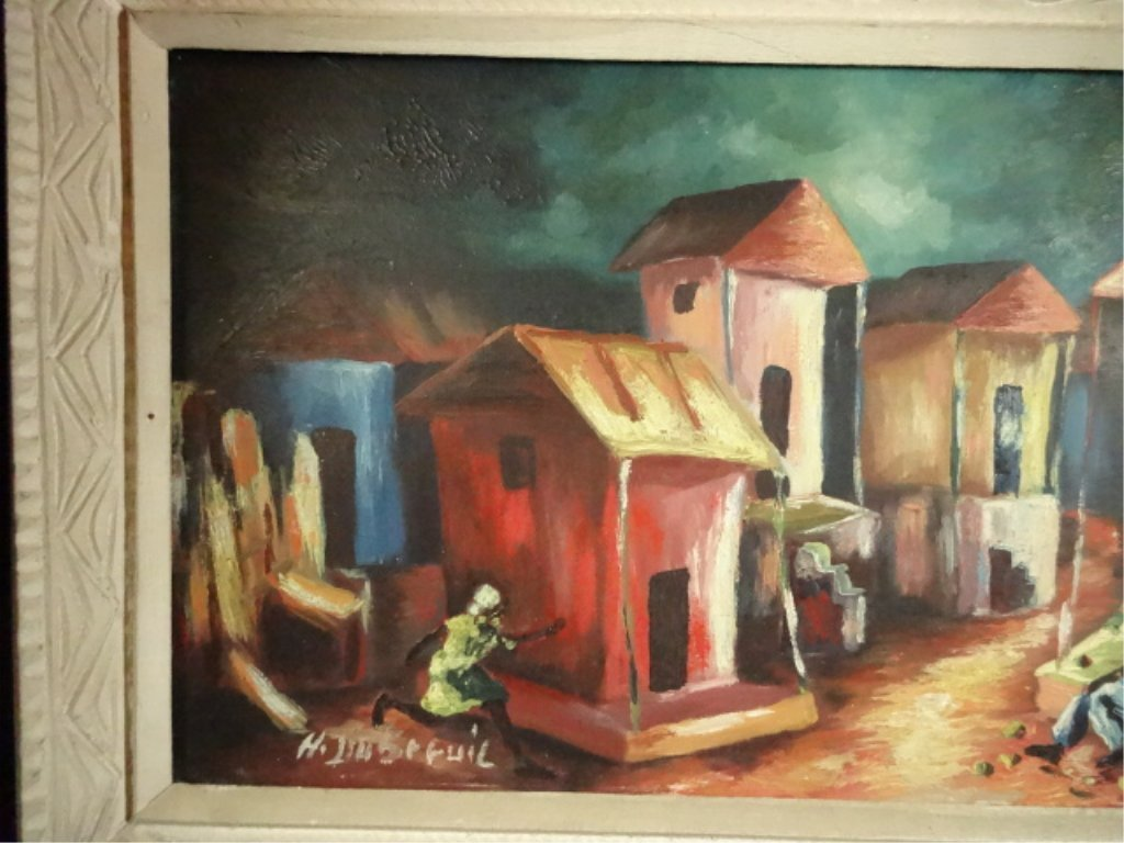 HAITIAN OIL ON BOARD PAINTING, VILLAGE SCENE, SIGNED - 2