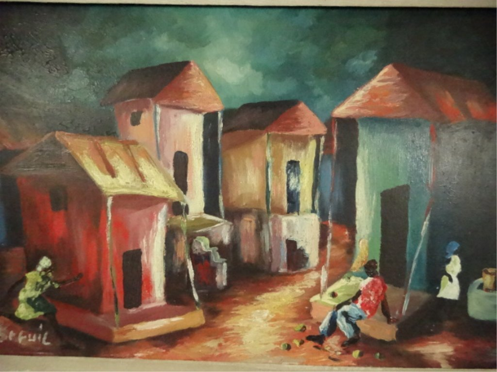 HAITIAN OIL ON BOARD PAINTING, VILLAGE SCENE, SIGNED - 3
