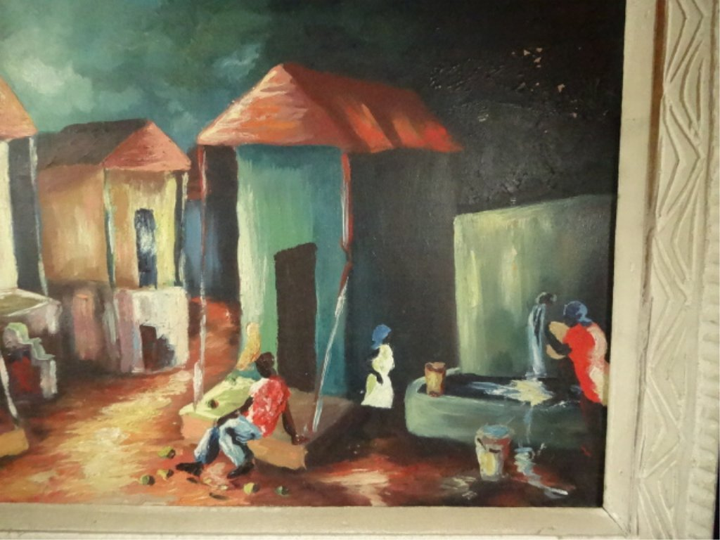 HAITIAN OIL ON BOARD PAINTING, VILLAGE SCENE, SIGNED - 4