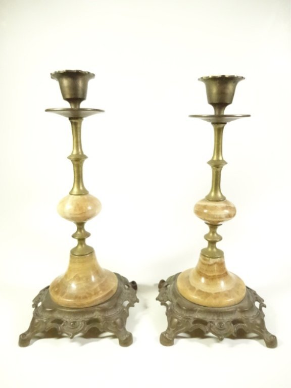 "PAIR ONYX & METAL CANDLE STICKS, APPROX 9.5""H"