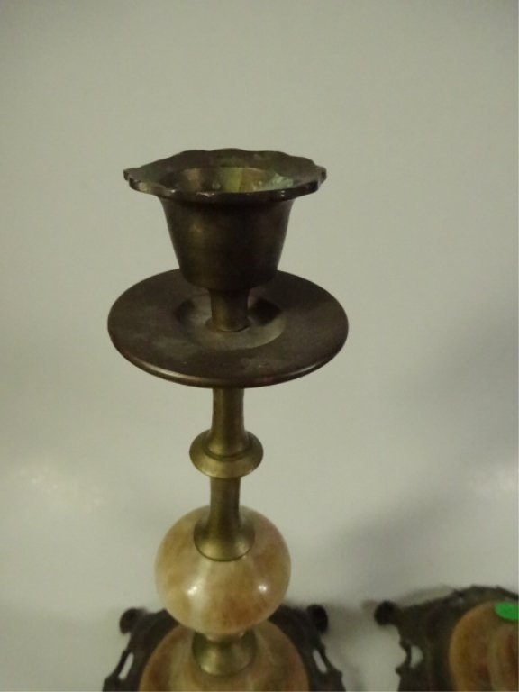 "PAIR ONYX & METAL CANDLE STICKS, APPROX 9.5""H - 2"