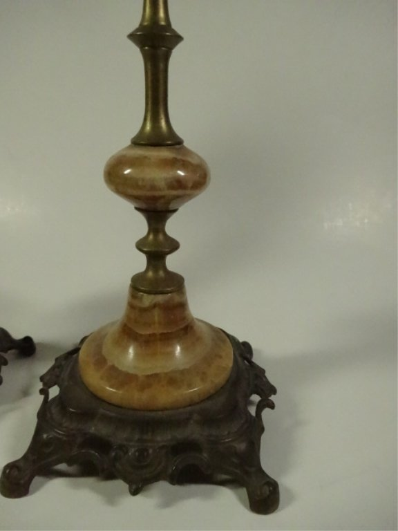 "PAIR ONYX & METAL CANDLE STICKS, APPROX 9.5""H - 4"