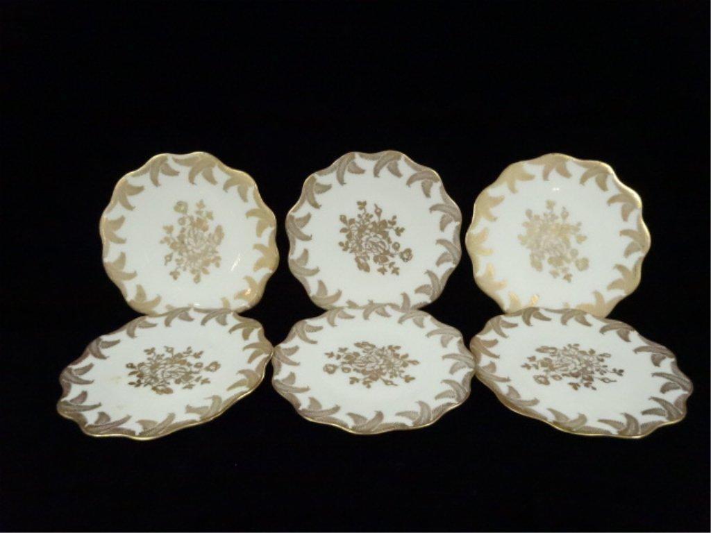 6 VINTAGE LIMOGES SMALL PLATES, GOLD FLORAL DESIGN,