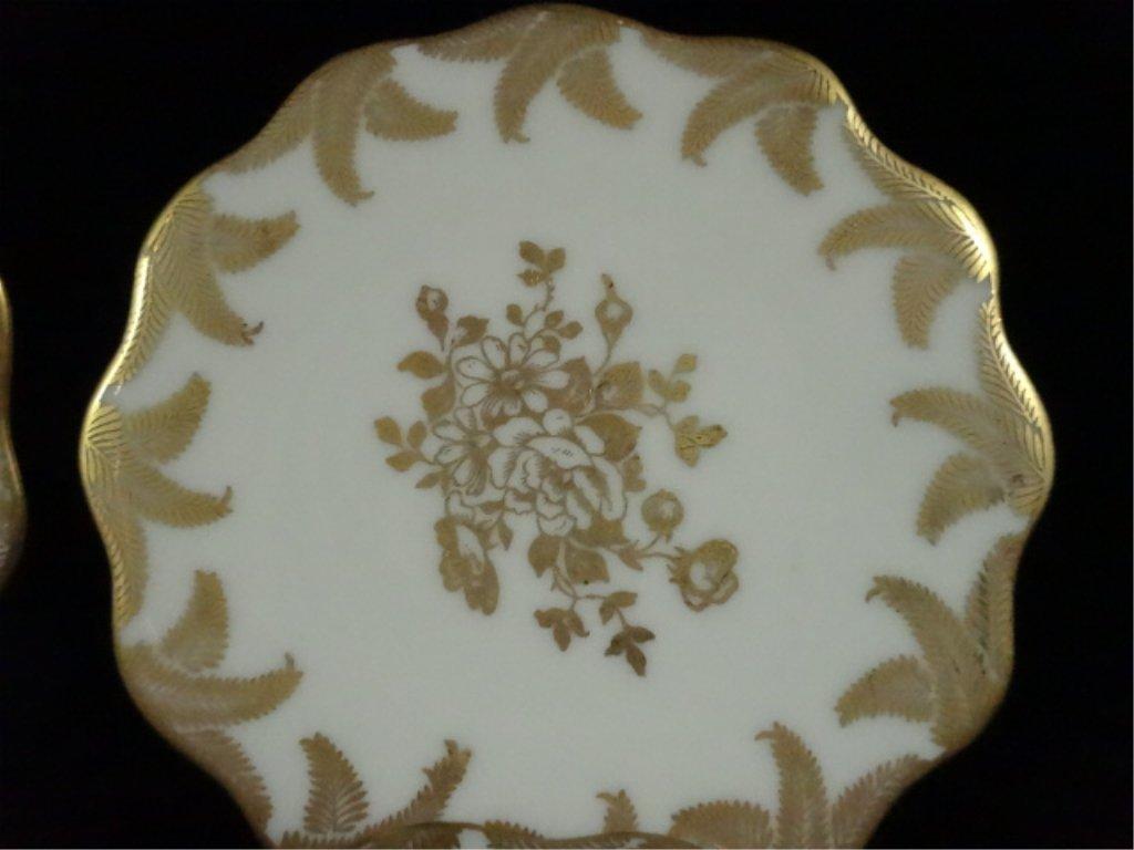 6 VINTAGE LIMOGES SMALL PLATES, GOLD FLORAL DESIGN, - 2