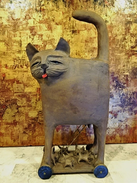 LARGE ART POTTERY CAT SCULPTURE, WITH SMALLER CAT