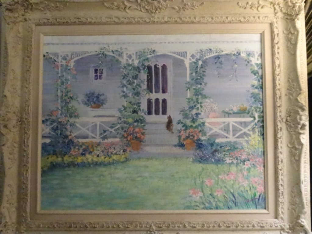 HUNT SIGNED PAINTING ON CANVAS, HOUSE WITH WHITE PORCH,