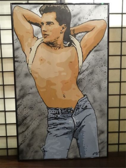 HUGE 5 FT. ACRYLIC PAINTING ON CANVAS, SHIRTLESS MALE,