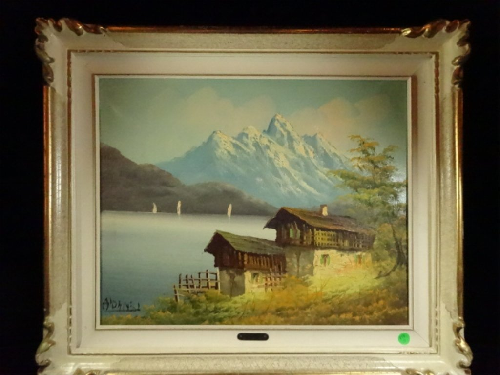 A. D'ANZI SIGNED OIL ON CANVAS PAINTING, LAKEFRONT CABI