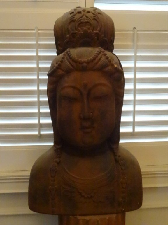 """LARGE CHINESE TERRA COTTA BUST OF A LADY, APPROX 24""""H,"""
