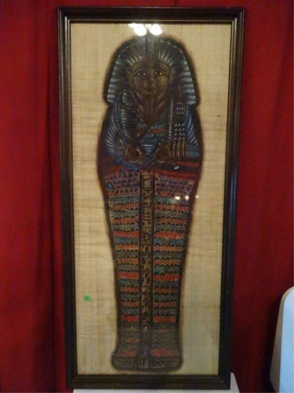 EGYPTIAN PAINTING ON PAPYRUS, TUTANKAMEN SARCOPHOGUS,